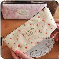 Wholesale Life Style Pencil Case - Wholesale- Freeshipping! NEW life style flowers Pencil bag  Cosmetic Storage case Pen holder pouch Functional   Fashion  Wholesale