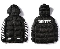 Wholesale Down Jackets Clothing - Wholesale- OFF WHITE Winter Jacket Men Parka High Quality Cotton Down Coat Camouflage Lining Hip Hop Hoodies brand clothing Off White Parka