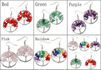 5 Styles Charm Yoga talons Boucles d'oreilles Wrap Gemstone Crystal Quartz Chip Perle Tree Of Life Boucles d'oreilles Crochet FBA Drop Shipping B162S