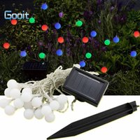 Vente en gros-Led Ball Flower Shape Suspendue Solaire Powered Garden String Lights Décoration-Changing imperméable Outdoor Party Noël