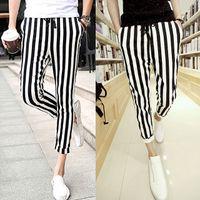 dikey tozluklar toptan satış-Toptan-Erkekler Siyah Ve Beyaz erkek rahat pantolon Tayt Zebra Baskı Dikey Şerit Pantolon SLIM FIT PANTOLON