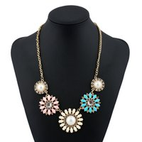 Wholesale Decorations Bling Flower - Bling Rhinestone Decoration Collar Bohemian Charms Fashion Flower Big Necklace Long Statement Pendant Women New Gift