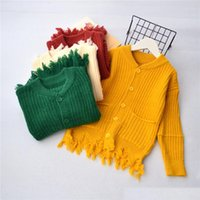 Wholesale Hand Crochet Baby Sweaters - Autumn Baby Girl Knit Tassel Sweaters Kids Girls Crochet Knitted Cardigan Baby Fashion Hallow out Outwear 2017 kids clothing