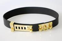 Wholesale Heavy Leather Belt - Women Gold Pyramid leather Belt H Brand Dress Belts for Women Heavy Metal Nice Quality cinto feminino Black belt bg-039a