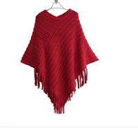 Wholesale Europe Long Ponchos - Wholesale-Womens Ladies Cape Coat Fringe Poncho Oblique Stripe Jacket Bohemian Shawl Sweater Europe Spring WinterFfashion Casual Sweater