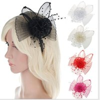 Wholesale Hoop Bride Hair Accessory - Europe and the United States new bride hair hoop ms white gauze popular rabbit ears buckle fashion headdress hair accessories