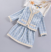 Wholesale Autumn Outfits Wool - Everweekend Girls Wool Blend Crochet Classic Outfits Stripes Jackets and Skirts 2pcs Sets Autumn Winter Jackets Clothing