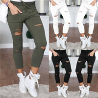 Wholesale Black Satin Skinny Pants - 2017 New women fashion slim hole sporting Leggings Fitness leisure sporting feet sweat pants black gray navy blue hollow trousers