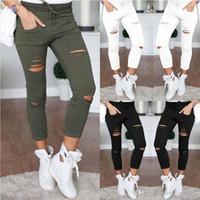leggings new jersey al por mayor-2017 Nuevas mujeres de la moda agujero delgado Leggings deportivos Fitness ocio deportivo pies sudor pantalones negro gris azul marino pantalones huecos