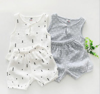 Wholesale Comfortable Baby Girl Clothes - Ins Baby boy girl kids 2 Pieces Set Kids girl summer Suit Set 100% cotton soft comfortable t shirt + shorts kids clothing sets 2 colors