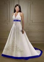 ingrosso blue wedding dresses-2019 Abiti da sposa da sposa su misura in raso bianco vintage e blu royal da sposa senza spalline