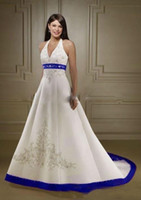 Wholesale halter embroidery red white resale online - 2019 Vintage White And Royal Blue Satin Beach Wedding Dresses Strapless Embroidery Chapel Train Corset Custom Made Bridal Wedding Gowns
