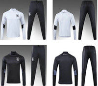 Wholesale High Collar Sweaters - New Germanys white soccer tracksuit high collar thai quality black sets full sleeve football suits men's outdoor sports sweater training kit