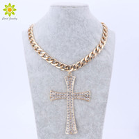 Wholesale Chunky Cross Pendant - New Fashion Gold Metal Chunky Chain Clear Crystal Big Cross Pendant Necklace