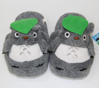 Wholesale Slippers Plush Toys - Hot Retail Totoro Slippers Grey My Neighbor Totoro Figures cartoon plush slipper 11inch totoro
