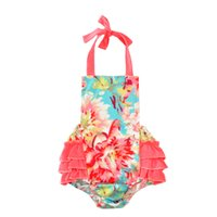 Wholesale Halter Jumpsuit One Piece - Wholesale Girls Rompers Newborn Infant Baby Girl floral Jumpsuit 2017 Summer Fashion Flower Halter Toddler Kids One Piece Romper Outfits