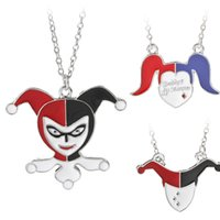 Wholesale Silver Clown Pendant - 3 Styles The Clown Jack The Dark Knight Suicide Squads Black Red Enamel Harley Quinn Necklace Halloween Clown Punk Jewelry 7