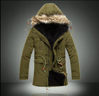 Wholesale Long Khaki Feather Coat - Man long coat very popular in the 2016 solid causal warm coat hooded winter wear a thick coat of male fashion