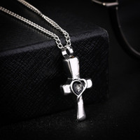 Wholesale Cremation Jewelry Necklace Cross - Silver Christian Cross Locket Ashes Urn Necklace Cremation Heart Design Pendant Keepsake Jewelry
