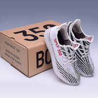 Wholesale Shoes Fish Heels - SPLY-350 BZ0256 Kanye West 350 Boost V2 Black White With White Stripe Men Women Shoes Soft True Boost Heels sply350 New Collection sales