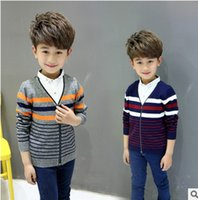 Wholesale Wholesale Fake Collar - Boys outwear fashion 2017 new children fake two piece knitting sweater kids stripe leisure outwear coat boy autumn clothing T4004