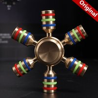 Wholesale Rubber Fingertips - 2017 Hand Spiner Six Arms Fingertips Spiral Fingers Gyro Fidget Spinner with 6 Heads Luminous rubber ring no noise fast speed free DHL