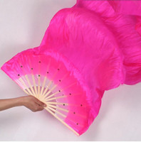 Wholesale chinese fan dance props resale online - 1 m Long Fans with Sequins Chinese Traditional Hand Fan for Dance Stage Show Props