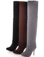 ingrosso tacchi di colore marrone-Le donne pelle scamosciata del Faux stivali di pelle tacco alto scarpe sottili sopra al ginocchio stivali coscia-alta nero marrone grigio US4-7.5 goccia formato di trasporto personalizzato