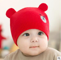 Wholesale Korea Bear Hat - Newborn Winter Caps Autumn Winter Korea Newborn Baby Knitted Baby Hat Cute Bear Hat Baby Bunny Beanie Cap Photo Props Cheap 968
