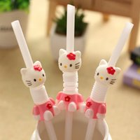 Balg pipette Kreative baby kinder kunst niedlichen hallo Kitty cartoon strohhalme stroh KT teleskop flexible stroh großhandel