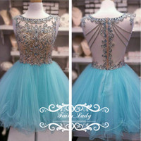 2017 Major Beading Short Junior Kleider Heimkehr Puffy A Line Himmel Blau Tüll Sheer Back Bling Kristall Sequins Party Prom Kleid Kleid