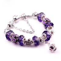 Wholesale Steel Pandora - Pandora purple crystal bracelet crown tassel retro bracelet European and American jewelry ethnic wind beaded crystal lady Bracelet