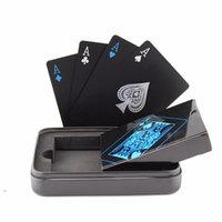 Wholesale Novelty Board Games - Tinplate Box-packed gold Plastic PVC Black Poker Playing Cards Novelty High Quality Collection Board Game Gift Durable Fastness free ship