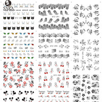 Wholesale Salon Decals - Wholesale- Sara Nail Salon 1Sheet Black Nail Stickers Lace Flower Designs Water Transfer Nail Tips Decals Sexy Decor Accessories STZ280-309