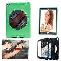 Wholesale Ipad Handheld Case - For iPad 360 Degrees Rotating Rugged Leather Stand Handheld Shockproof Case Hybrid Protective Cover for iPad 2 3 4 5 6 Air Air2.