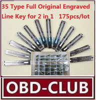 Wholesale Locksmith Wholesale Key Blanks - 2017 2 in 1 175pcs lot 35 Type Full Original Engraved Line Key for 2 in 1 LiShi scale shearing teeth blank car key locksmith tools supplies