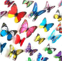Wholesale Mix Stickers 3d - Random Mix 3D Color Butterfly Wall Stickers Wall Decals for Home Decor or Halloween Party Supplies Assorted Size