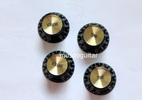 Wholesale Electric Guitars Control Knobs - Free shipping A Set of 4 pcs golden Speed Control Knobs for Electric Guitar (2 Volume & 2 Tone)