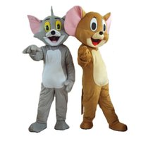 Wholesale Mouse Jerry Costume - Tom and Jerry mascot cat mascot mouse mascot costume adult size free shipping