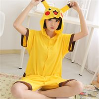 Wholesale Kids Onesie Pajama - Malidaike Anime Pikachu Cosplay Home Clothes Cotton Summer Animal Pajamas One Piece For Adults Child Onesie Couple Pajama Costume
