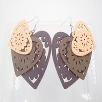 Wholesale Elegant Wooden - Elegant Lady Dangle Earrings Mixed Colors Wooden Heart Shaped Drop Earrings