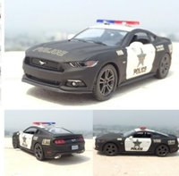 Wholesale Wholesale Police Toys For Kids - 100PCS Brand New 1:38 Ford 2006 Mustang GT Police Alloy Diecast Model Car Pull Back Vehicle Toy Collection As Gift For Boy Children