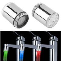 Wholesale Color Changing Faucet Light - Wholesale- 2017 new 3 Color LED Light Change Faucet Shower Water Tap Temperature Sensor No Battery Water Faucet Glow Shower Left Screw