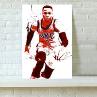 Wholesale HD Printed Sports Art Oil Painting Home Decoration Wall Art on Canvas Basketball Player Russell Westbrook x24inch