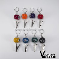 Wholesale Mini Snooker - Billiard Ball Smoking Pipe Portable Keychain Crocodile Clip Zinc Snooker Table Ball Key Ring Pendant Holder Mixed Color Number Mini 138