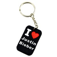 Wholesale I Love Justin Bieber - Hot Sell 1PC I Love Justin Bieber Silicone Keychain, Perfect To Use In Any Benefits Gift For Music Fans
