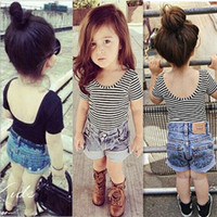 Wholesale baby girl solid tee resale online - Ins Baby Girls Backless striped short sleeved T shirt Cute Infant Toddle Slim Tops Tees Kids Tshirts Children Clothes Clothing