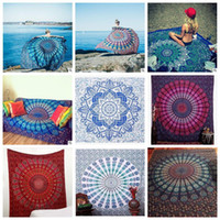 Wholesale Babies Bath Towels - Mandala Beach Towels Tapestry Hippy Boho Tablecloth Bohemian Beach Towel Serviette Covers Beach Shawl Indian Wrap Yoga Mat CCA5651 5pcs