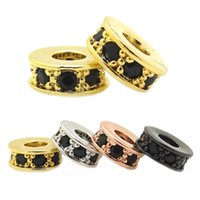 Gold Silver RoseGold Black Plated Rondelle Spacer Beads, Micro Pave Black Crystal CZ Metal Beads Charm para hombres Pulseras Jewelry Making