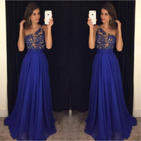 Wholesale Sexy Girls Laces - 2017 Royal Blue Prom Dresses One Shoulder Chiffon Illusion Long Custom Made Special Occasion Party Gowns For Girls Robe De Soiree